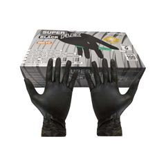 Luva Proteção Superflex Preta Tamanho G Sem Po Com 100 Unidades