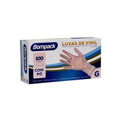 Luva Proteção Vinil G Com Pó Com 100 Unidades Bompack